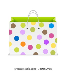Shopping bag with color dots. Vector