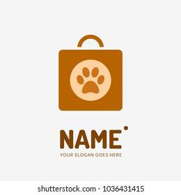 Shopping bag and dog track . Vector logo design. Business concept icon.