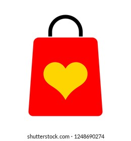 Shopping bag with heart illustration, love vector sign, Shopping bag pictogram isolated on white. Symbol, logo illustration