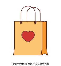 shopping bag with heart in middle isolate  on white background. Flat style object.simple design.Valentine's present concept.