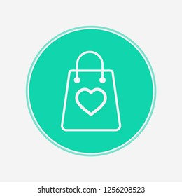 Shopping bag with heart vector icon sign symbol