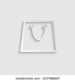 shopping bag icon line design paper icon  with shadow