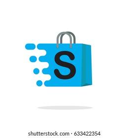 Shopping bag icon, logo abstract shop