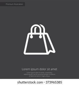 shopping bag icon, on dark background