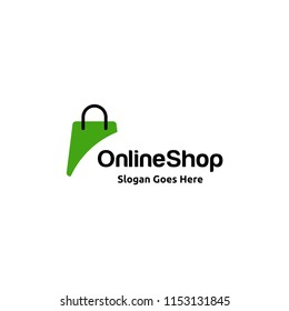 """Shopping bag icon for online shop business logo with text """"Online Shop"""""""