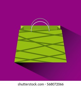 shopping bag icon over purple background. colorful design. vector illustration