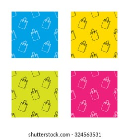 Shopping bag icon. Sale handbag sign. Textures with icon. Seamless patterns set. Vector