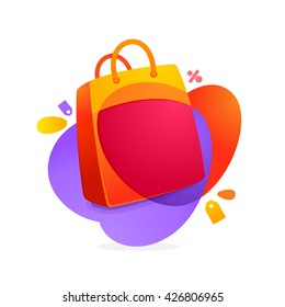 Shopping bag icon and Sale tag. Vector design element for best price tag. Sale icon for card, Special offer tag, corporate identity, Super Sale label, Sale sticker or Sale poster.