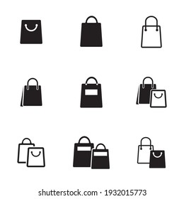 Shopping bag icon vector. Flat design style on white background.