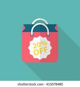 Shopping bag icon, Vector flat long shadow design. EPS10