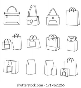 Shopping Bag Icons. Collection of Black Line Icons Isolated on a White Background. A Vector Illustration