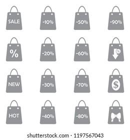 Shopping Bag Icons. Gray Flat Design. Vector Illustration.