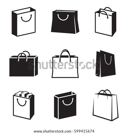 Shopping Bag Icons Set Black On Stock Vektorgrafik Lizenzfrei