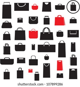 Shopping bag icons set. Sale seamless background.