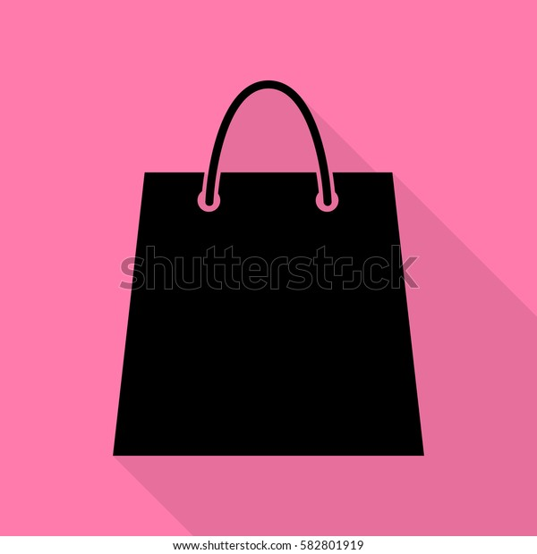 Shopping bag illustration. Black icon with flat style shadow path on pink background.