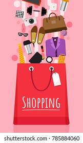 Shopping bag and item fashion gadget clothier. Illustrator vector set.