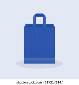 Shopping bag. Kraft blue paper bag. Vector illustration, flat design