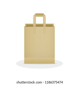 Shopping bag. Kraft brown paper bag. Vector illustration, flat design