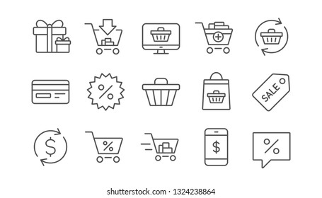 Shopping bag line icons. Gift, Present and Sale discount. Delivery linear icon set.  Vector