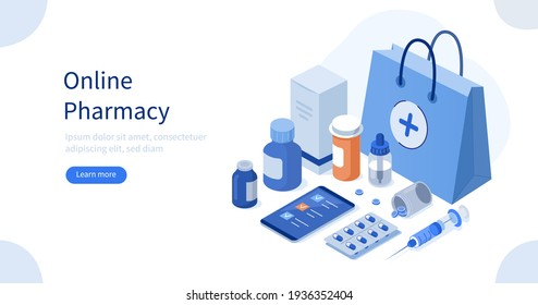 Shopping Bag with Medicine Pills, Capsules and Bottles Lying near Smartphone with Checklist on Screen. Online Drugstore Services. Health Care and Pharmacy Concept.  Flat Isometric Vector Illustration.