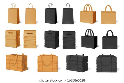 Shopping bag mockup. Craft paper bags, black empty packaging and shop handbag template vector set. Collection of modern realistic commercial kraft packages or sacks with handles for brand identity.