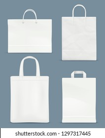 Shopping bag mockup. Paper handle plastic paper bag vector realistic blank template isolated