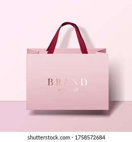 Shopping bag mockup. pink blank paper bags. shopping product package for corporate brand template.