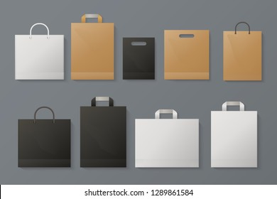 Shopping bag mockup. Realistic white paper package craft black brand merchandise shop gray paper. Fashion shopping vector template
