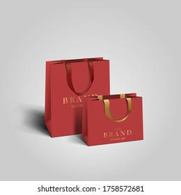 Shopping bag mockup. red blank paper bags. shopping product package for corporate brand template.