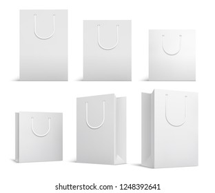 Shopping bag mockup. White blank papper bags. Shopping product package for corporate brand vector template