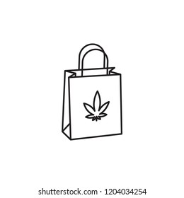 Shopping Bag Paper vector black line art symbols on white background for commercial business medical marijuana cannabis health services website