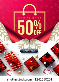 Shopping bag Poster,New year 50% off Sale Promotion Poster or banner with shopping bag and open new year gift wrap paper concept.Promotion or shopping template for Christmas or New Year.Vector EPS10