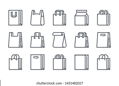 Shopping bag related line icon set. Paper market bag linear icons. Grocery bag outline vector signs and symbols collection.