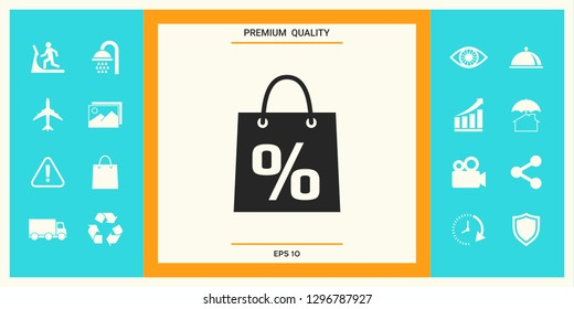 Shopping bag with the sale, percent, discount symbol. Graphic elements for your design