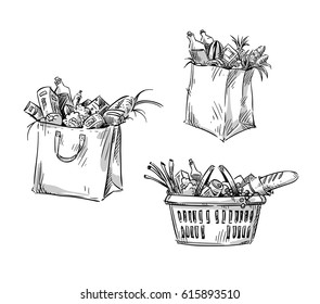Shopping bags and basket. Vector drawing