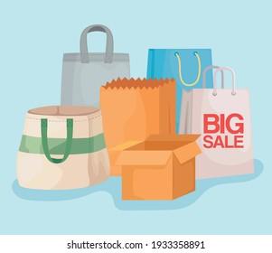 shopping bags and carton boxes