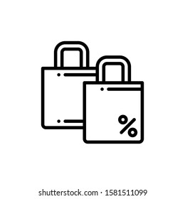 Shopping Bags Icon Outline Vector. Holiday Sale Icons. Online Shop Ikon.