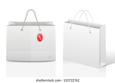 shopping bags with a price tag
