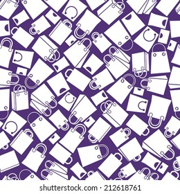 Shopping bags seamless background, monochrome, single color vector icon set, elements easy to use separately as icons.