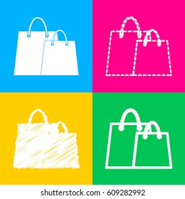 Shopping bags sign. Four styles of icon on four color squares.