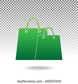 Shopping bags sign. Vector. Green gradient icon with shadow at bottom on transparent and white background.