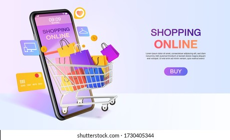 Shopping bags in a trolley out mobile or smartphone. shopping online website template. mobile store application concept. marketing and digital marketing. vector illustration modern design.