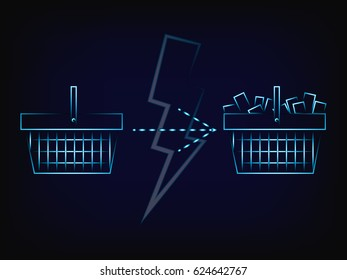 shopping basket from empty to full, with lightning bolt overlay (vector with neon effect on mesh background)