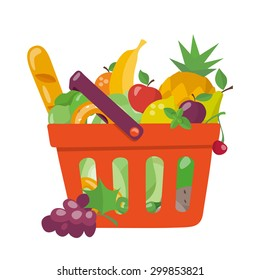 Shopping basket in flat style. Healthy food.