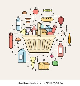 Shopping basket with food products from the store. Milk, bread, sausage, meat, water, oil, sweets, yogurt, eggs. Line style vector illustration.
