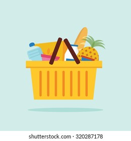 Shopping basket with foods. Flat vector illustration.