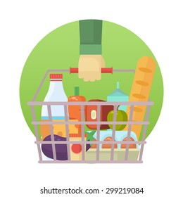 Shopping basket with fresh food and drink. Buy healthy foods in the supermarket. Vector flat design illustration