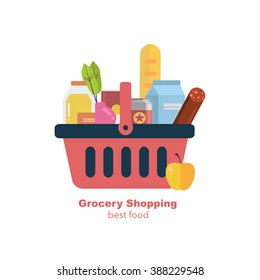 Shopping basket with fresh food and drink.Buy grocery in the supermarket. Vector flat design illustration