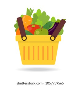 Shopping basket with fresh vegetables. Concept of healthy lifestyle, vegan, vegetarian. Fresh organic food. Vector