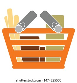 shopping basket full icon. flat illustration of shopping basket full vector icon. shopping basket full sign symbol